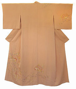 Japanese Peach Colored Silk Kimono with Flowers