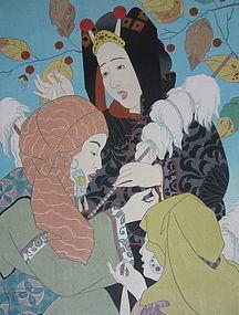 Paul Jacoulet print, Le Chant des Fileuses, Mongolie