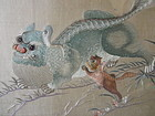 Chinese Antique Silk Embroidered Panel with Fu-dogs