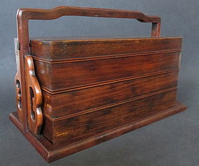 Chinese Hardwood Tiered Box With Handle