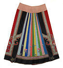 Antique Chinese Multicolored Silk Skirt