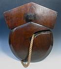 "Japanese Antique Large Wooden ""J"" Hook Jizai"