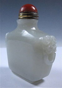Antique White Jade Snuff Bottle with Agate Top