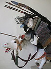 Japanese Edo Period Pair of Samurai Dolls on Horses