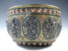 Southeast Asian Brass Bowl With Copper And Silver