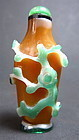Antique Chinese Peking Glass Snuff Bottle With Flowers