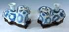Antique Chinese Porcelain Blue and White Dogs