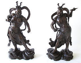Pair of Japanese Bronze Nio Guardians