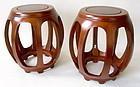 Pair Chinese Rosewood Barrel Stools