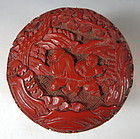 Chinese Antique Cinnabar Lacquer Box with Children