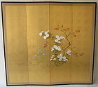 Japanese Four Panel Screen Flowers in bloom