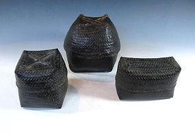 Set of Three Burmese Woven Baskets