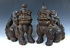 Pair Of Japanese Wooden Horned Shi-Shi Dog