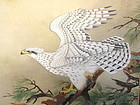 Japanese Painted Standing Screen with Hawk and Peonies