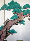 Japanese 6-panel Screen Painting of a Pine Tree