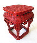 Antique Chinese Cinnabar Lacquered Dragon Stand