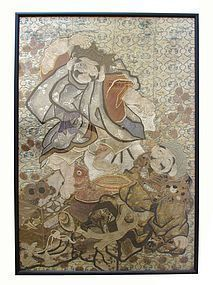 Japanese Woven Textile Of Ebisu and Daikoku