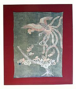 Antique Japanese Woven Futon Cover with Ho-Oh