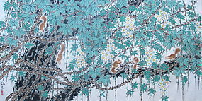 Antique Chinese Scroll of Squirrels
