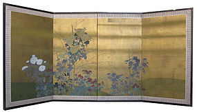 Japanese 4-panel Screen Painting of Flowers