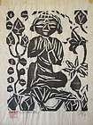Japanese Woodblock Print of Buddha by Munakata
