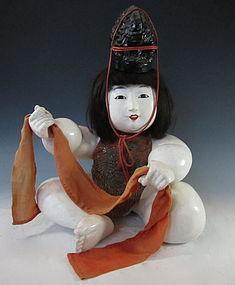 Japanese Antique Gosho-Ningyo Doll with Hat