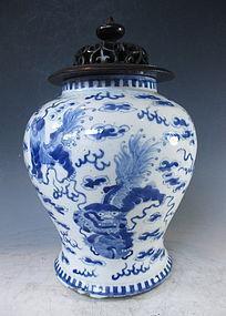 Antique Japanese Blue and White Porcelain Vase