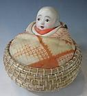 Japanese Antique Doll in Basket
