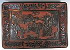 Chinese Antique Cinnabar and Black Lacquer Tray