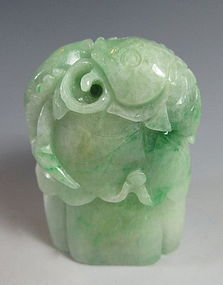 Chinese Jadeite Carving of Koi and a Lotus Pod