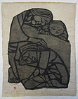 Japanese Original Print of Women and Child by Y. Mori