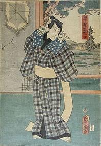 Antique Japanese Ukiyo-e Woodblock by Toyokuni