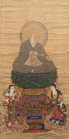 Antique Japanese Color Print of Kukai and Attendants