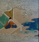 Japanese Antique Painted Album Leaf from Tale of Ise