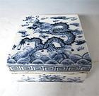 Antique Chinese Blue and White Porcelain Box