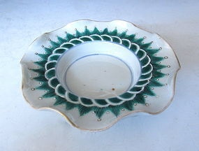 Chinese Porcelain Cup Holder with Wave Edges