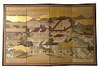 Antique Japanese Four Panel Screen Painting of Kyoto
