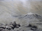 Japanese Antique Embroidered Scene of Crashing Waves