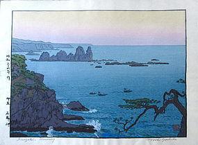 """""""Irozaki Morning"""" Woodblock Print by Toshi Yoshida"""