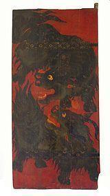 Antique Tibetan Painted Door with Yaks