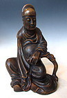 Chinese Hardwood Carving of a Buddhist Scholar