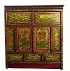 Tibetan Wood Cabinet with Painted Panels of Beasts