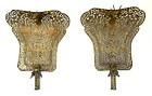 Pair of Antique Chinese Gilded Metal Court Fans