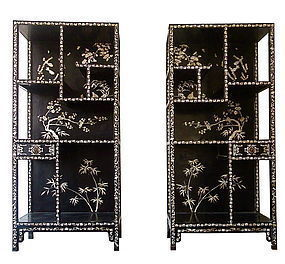 Antique Chinese Pair of Lacquered and Inlaid Display Shelves