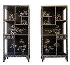 Antique Chinese Pair of Cabinets with Mother of Pearl