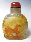 Chinese Carved Agate Snuff Bottle with Horse