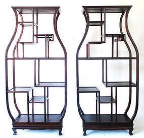 Pair Chinese Large Vase Shaped Display Shelves