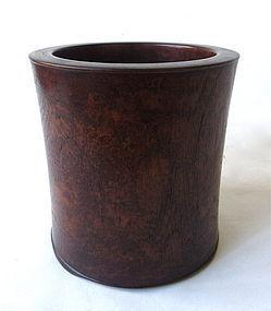 Vintage Chinese Burl Brush Pot