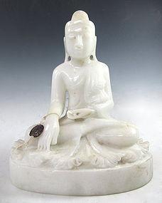 Antique Burmese Alabaster Carved Buddha