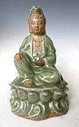 Chinese Ceramic Guan Yin with Celadon Crackle Glaze